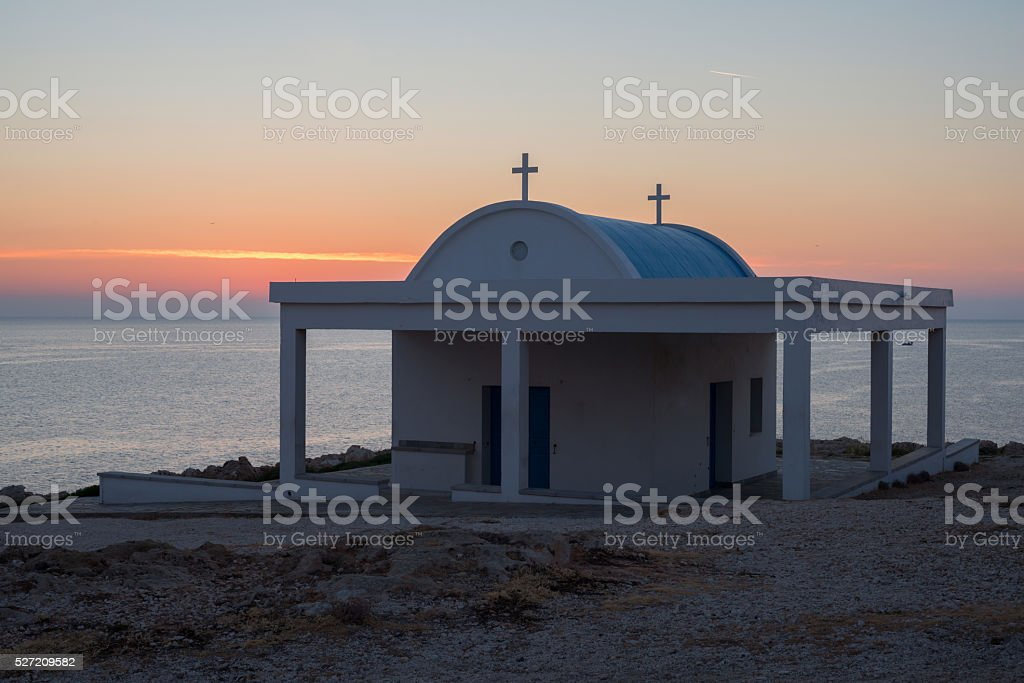 Little church by the sea stock photo
