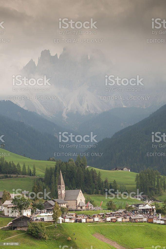 little church in Dolomites stock photo