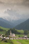 little church in Dolomites