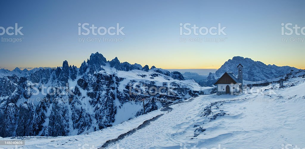 Little Church in the Dolomites (Italy) stock photo