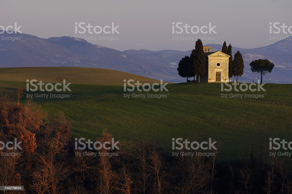 little church on the hill in tuscany royalty-free stock photo