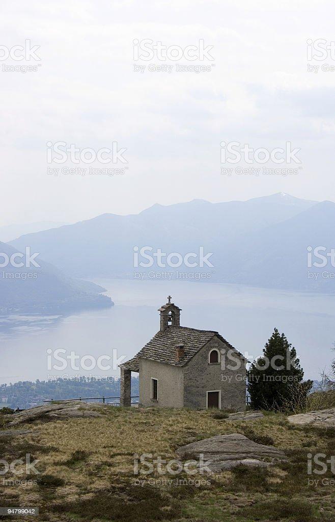 little church on the Locarno Lake ( Switzerland) stock photo