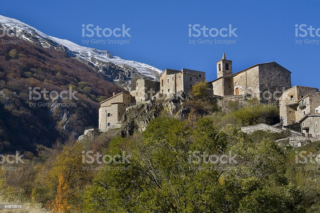 little church on the mountains at roccacaramanico royalty-free stock photo