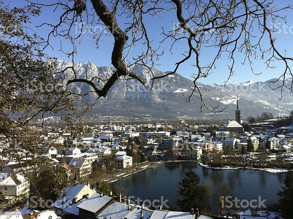 little city called Buchs stock photo