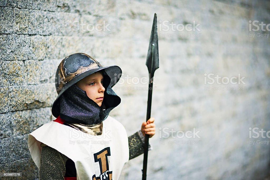 Little city guard guaring the castle stock photo