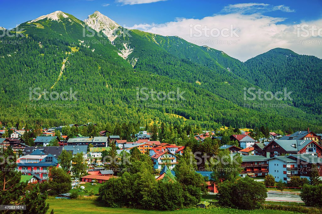 Little city in the mountains stock photo