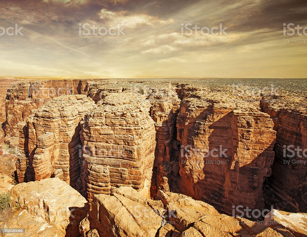 little colorado river gorges at sunset stock photo