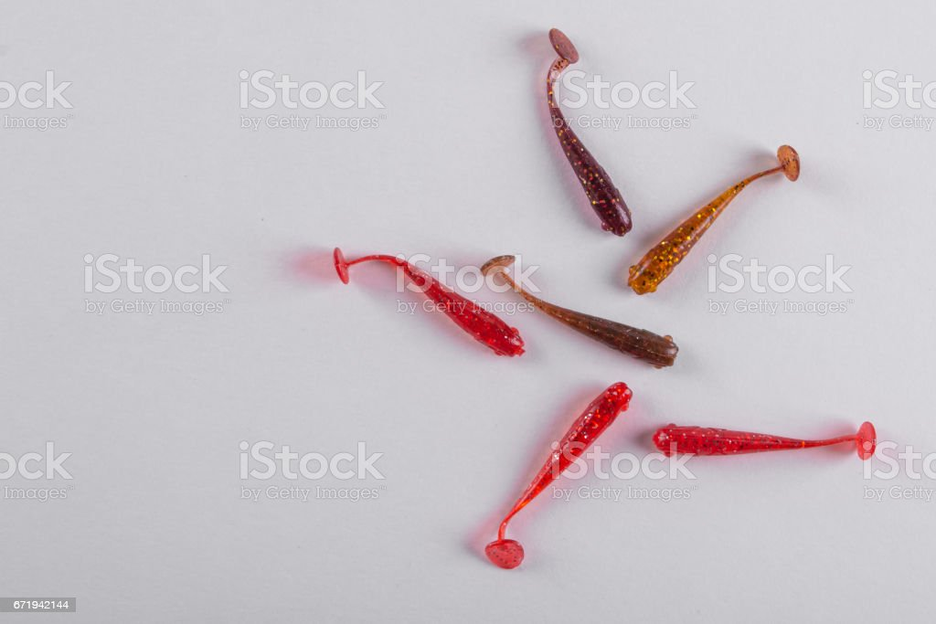 Little colorful silicone fishing baits stock photo