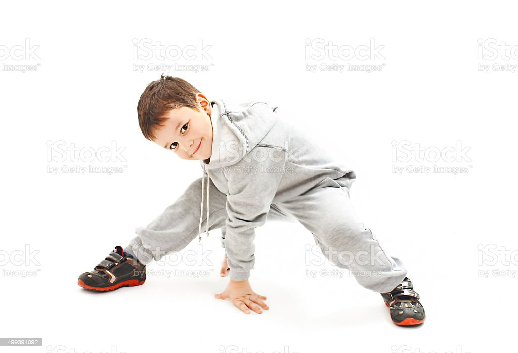 Little cool hip-hop boy in dance stock photo
