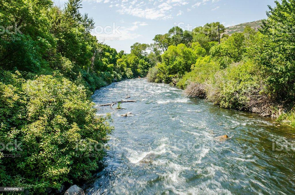 Little Cottonwood Creek River in Utah's Wasatch Range stock photo