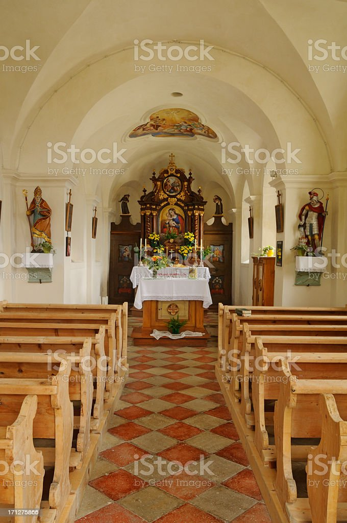 Little Country Chapel Interior (Dobbiaco - Italy) stock photo