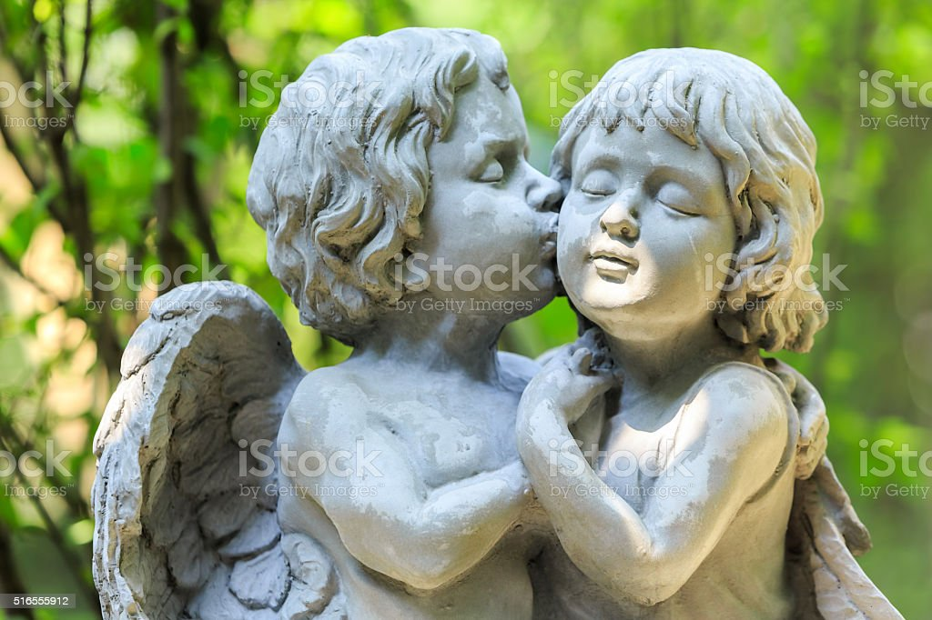 Little couple angel stock photo