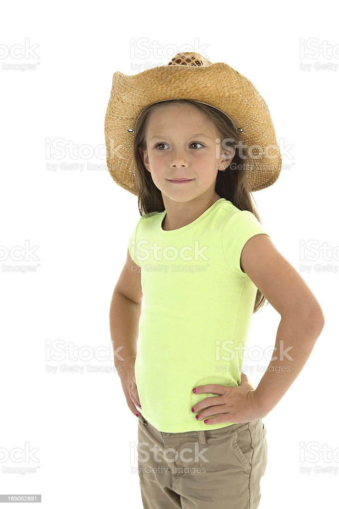 Little Cow Girl Looking Left (Isolated on white) stock photo