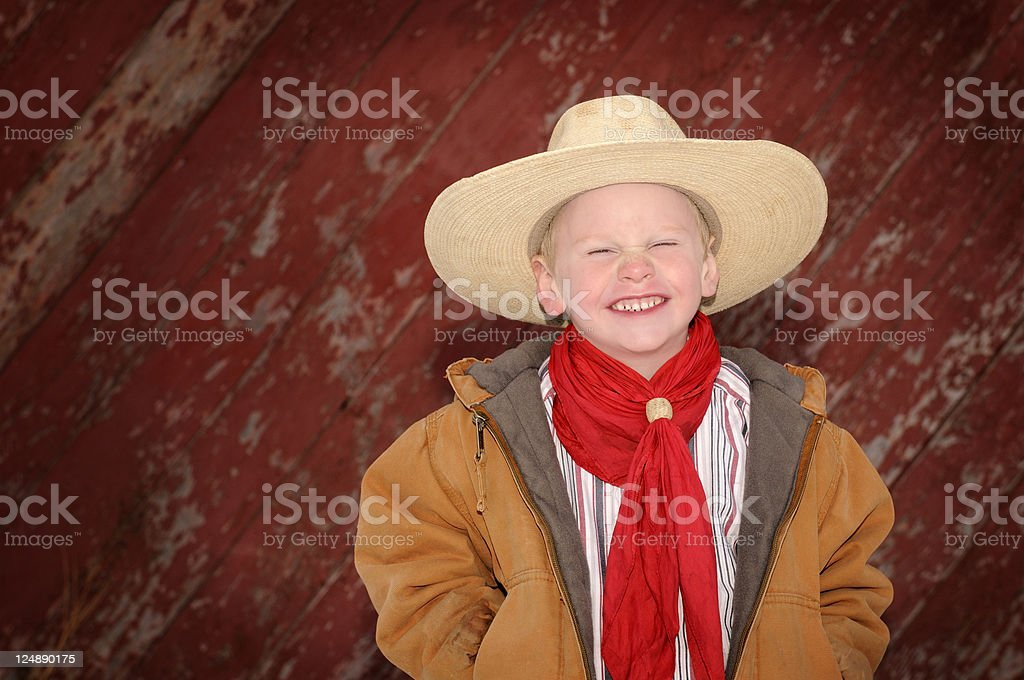 Little Cowboy With A Big Hat and Red Neckerchief royalty-free stock photo