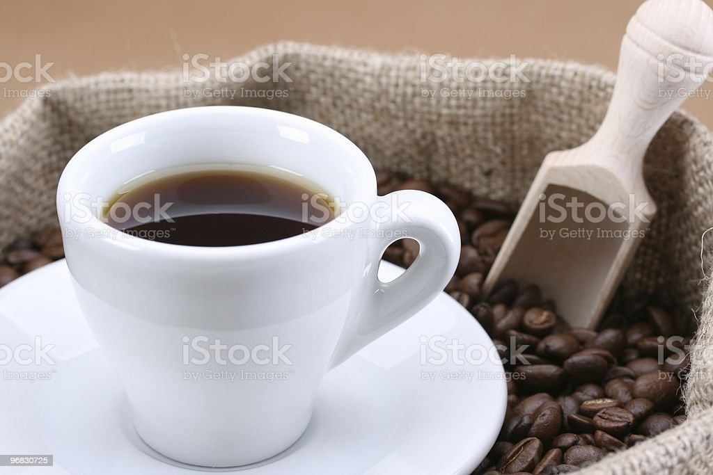 Little Cup of nature Coffee Beans royalty-free stock photo