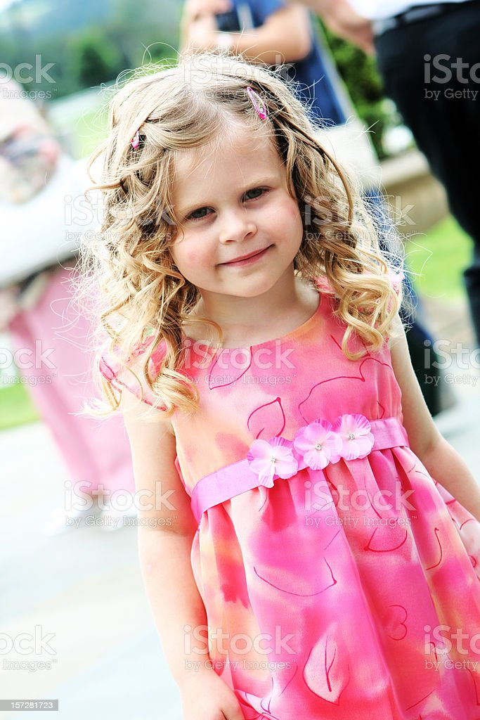 Little Curly Haired Flower Girl royalty-free stock photo