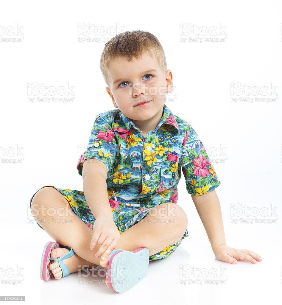 Little cute boy dressed in beach clothes royalty-free stock photo