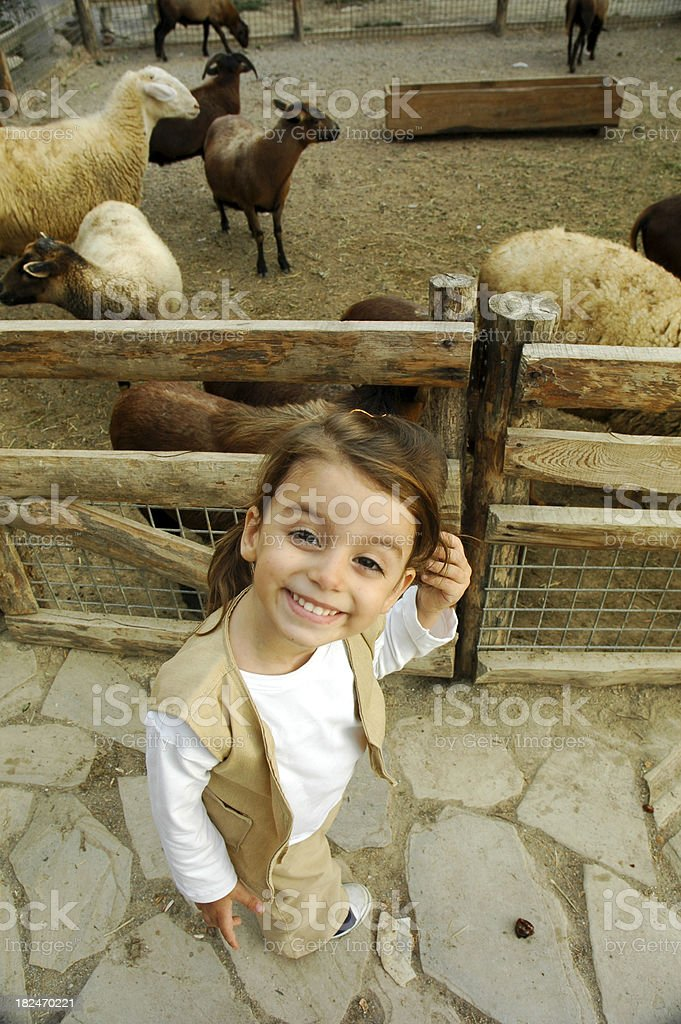 little cute girl in the zoo park royalty-free stock photo