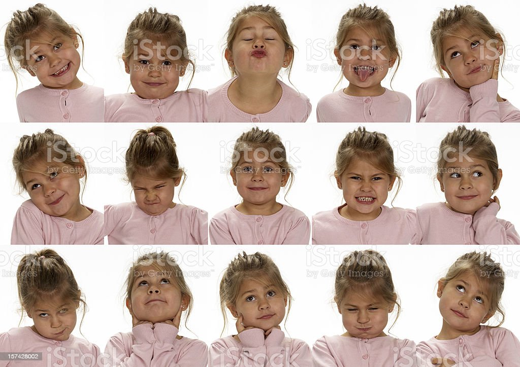 Little cute girl making faces royalty-free stock photo