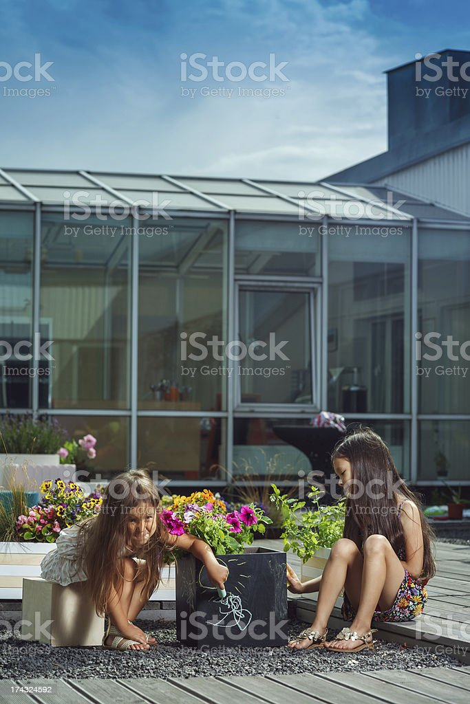 Little cute girls drawing on flowerpot royalty-free stock photo