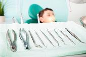 Little cute kid at dental clinic