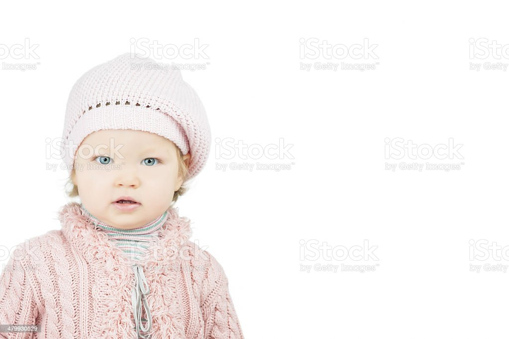 Little cute portrait of toddler in pink cap stock photo