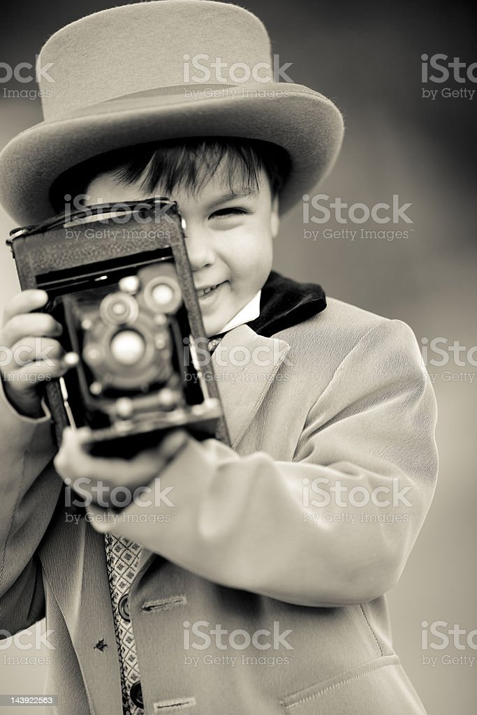 little cute retro style photographer stock photo