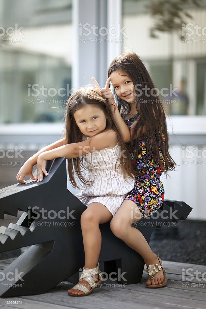Little cute sisters royalty-free stock photo