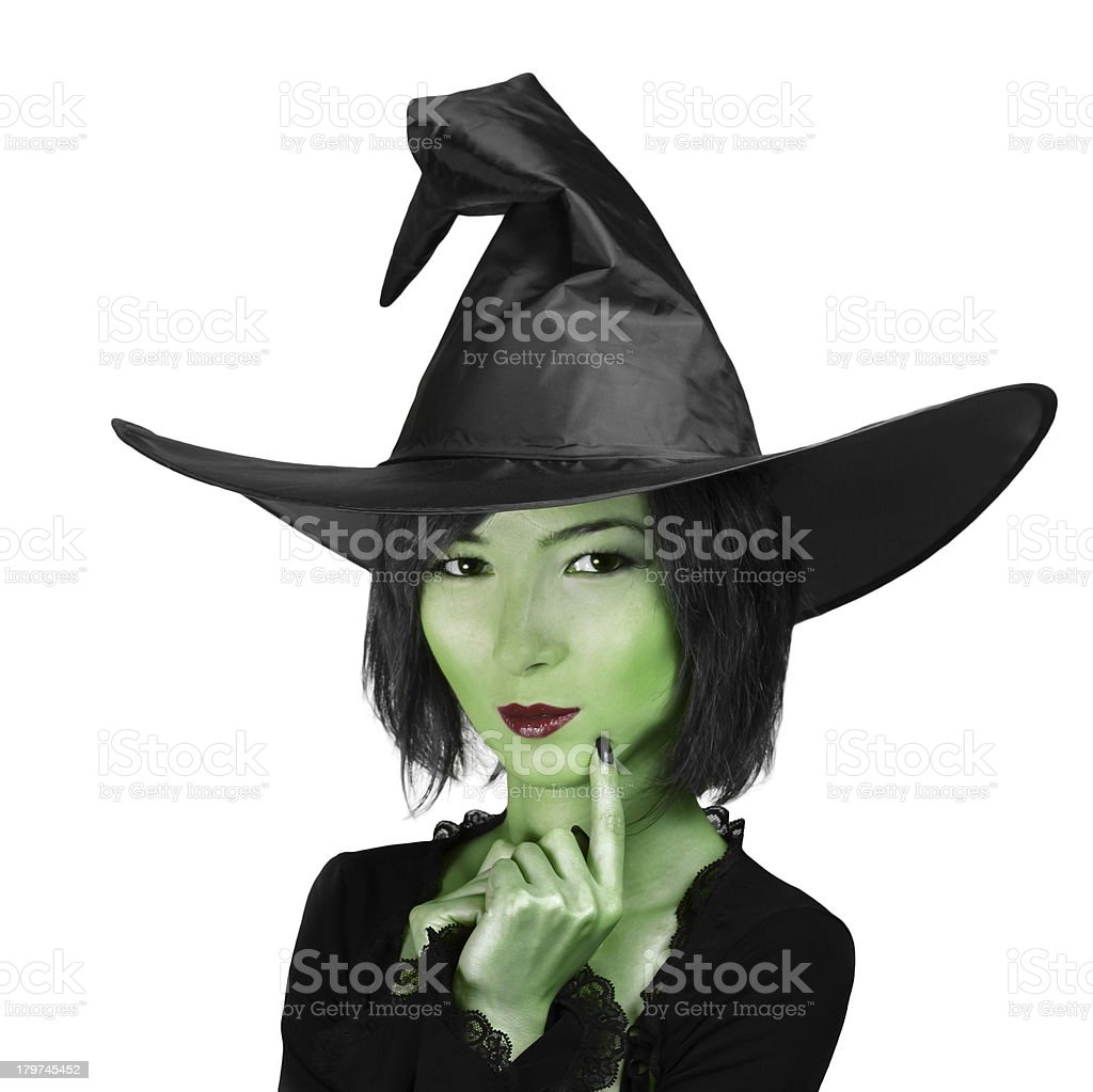 Little cute witch woman stock photo