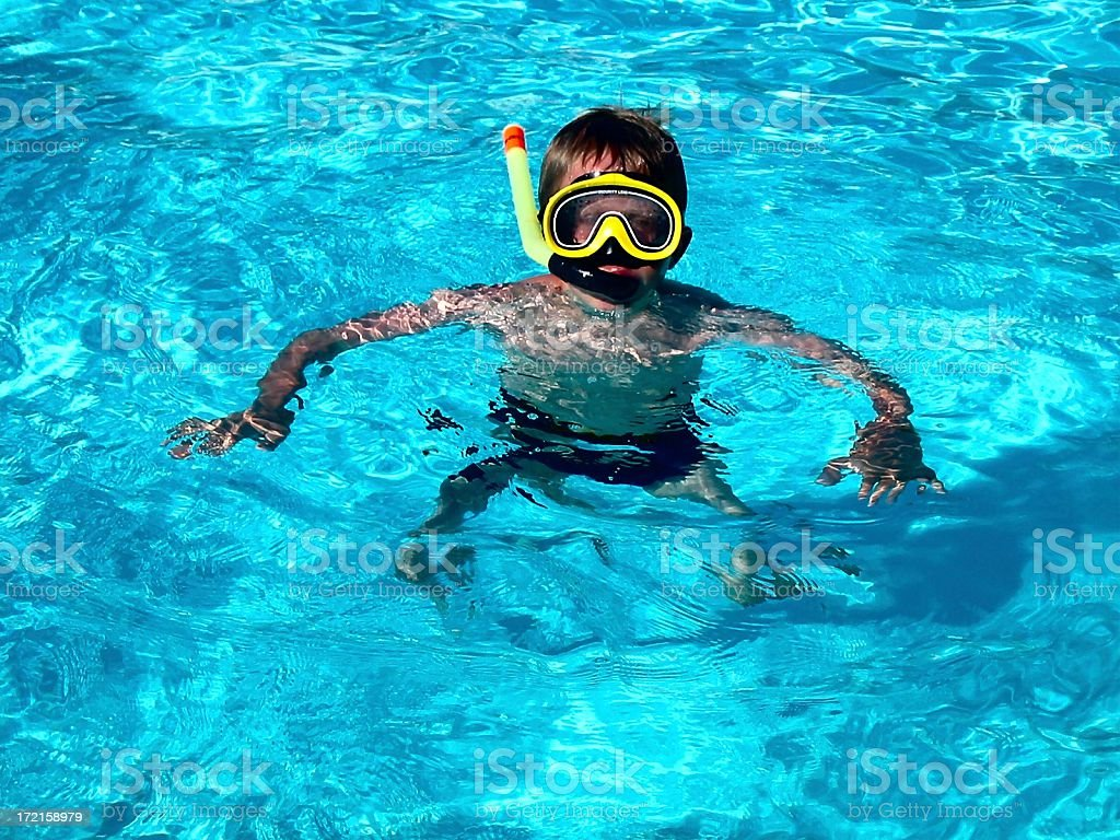 Little diver with mask royalty-free stock photo