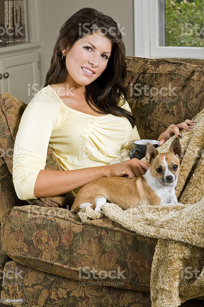 Little dog and girl stock photo