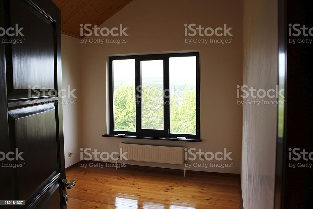 Little empty room and window reflection on the floor royalty-free stock photo