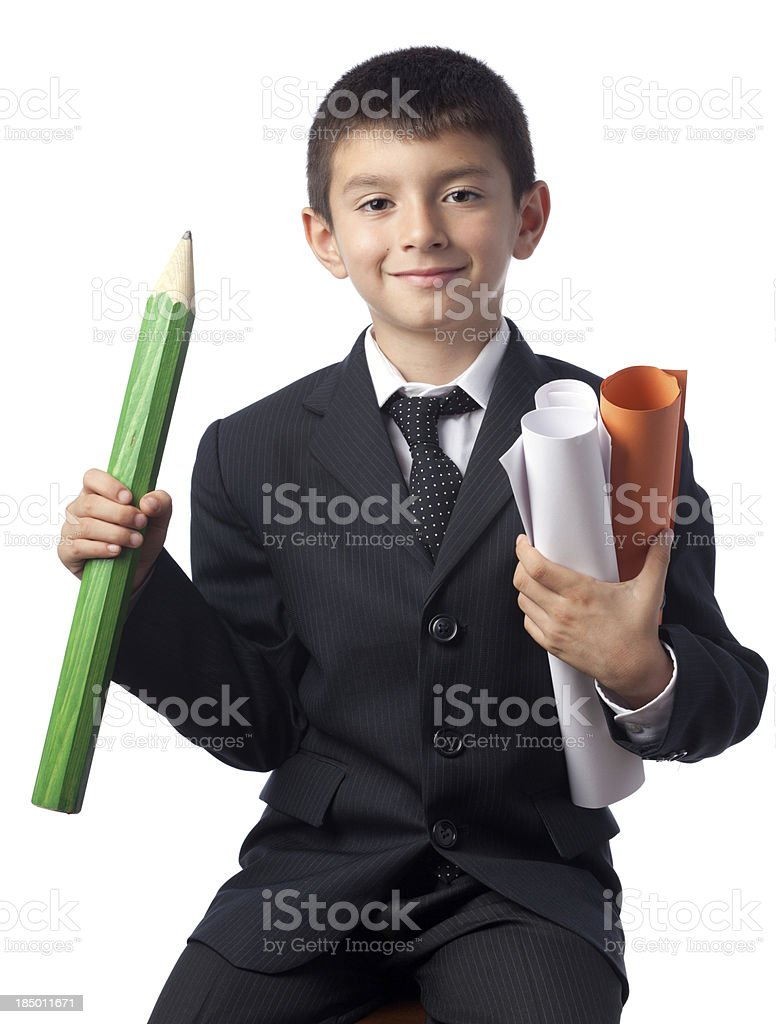 Little engineer holding blue prints on white background royalty-free stock photo