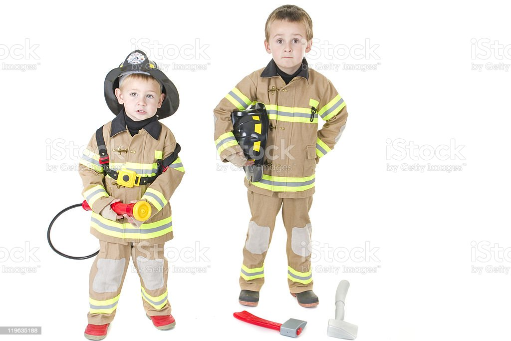 Little fire fighters royalty-free stock photo