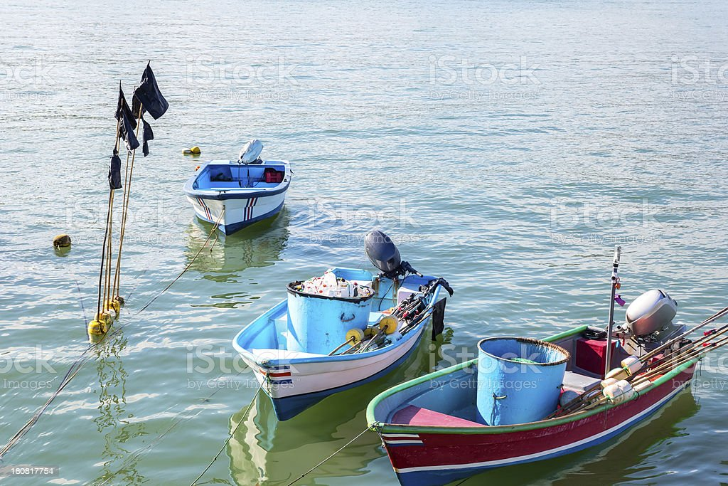 Little fishing boats in Costa Rica village royalty-free stock photo