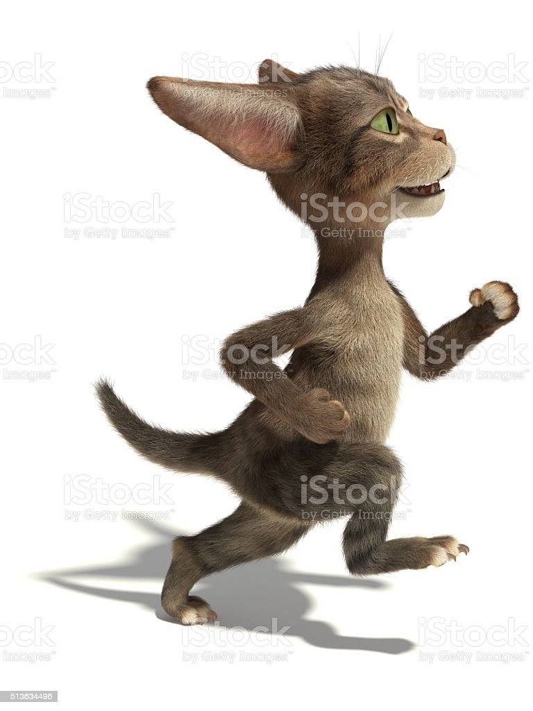 3D little fluffy tabby kitten runs like a man stock photo