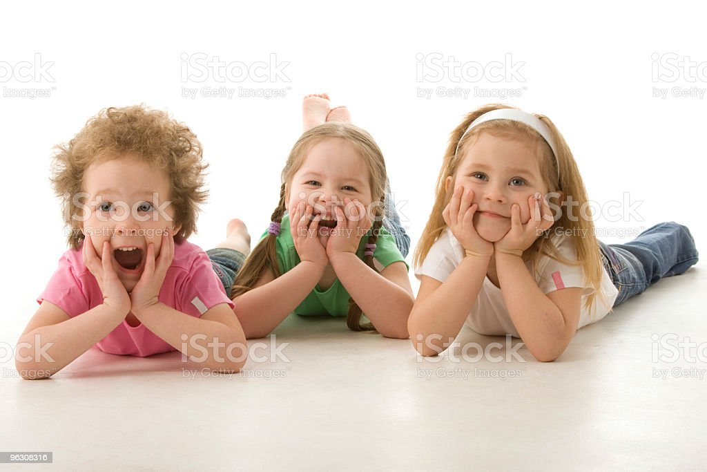 Little friends lying on front royalty-free stock photo