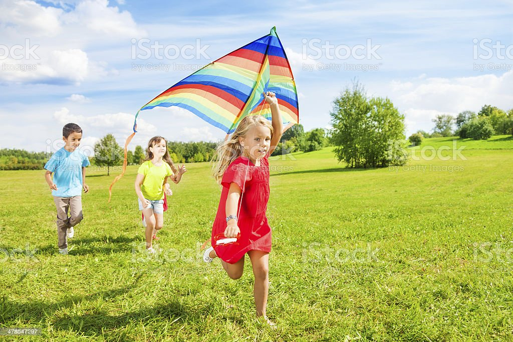 Little friends with kite stock photo