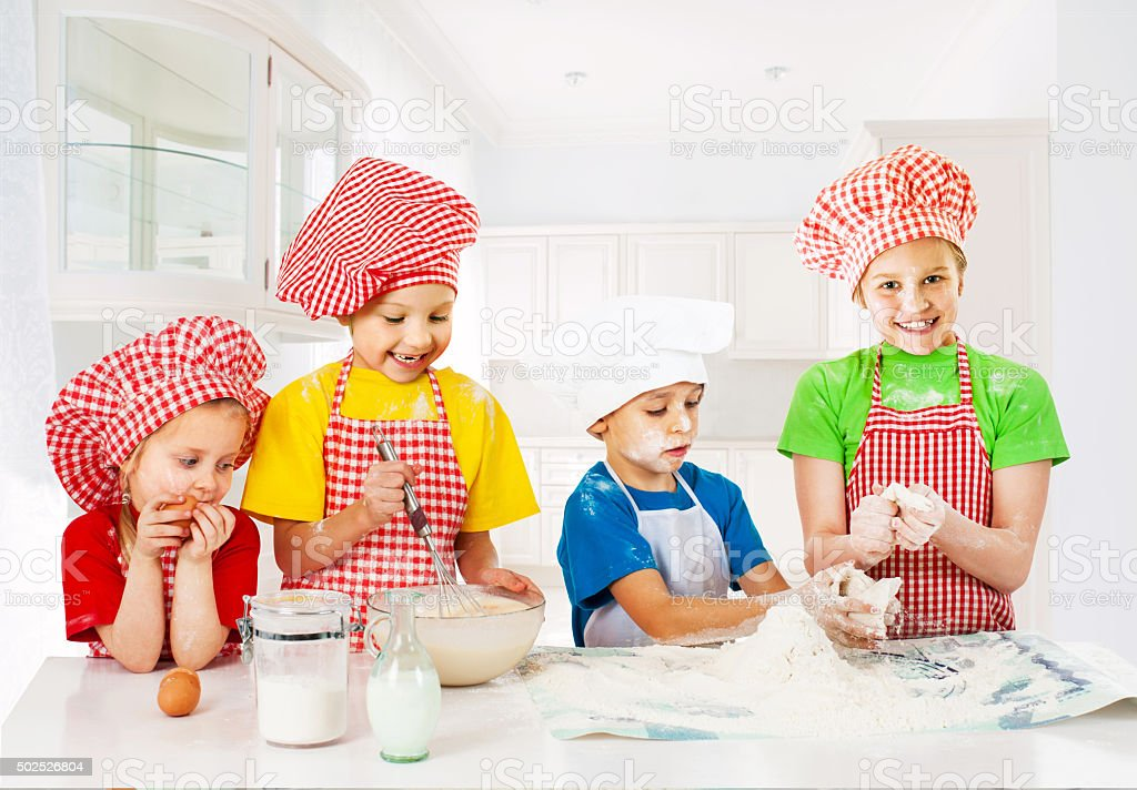 Little funny bakers stock photo