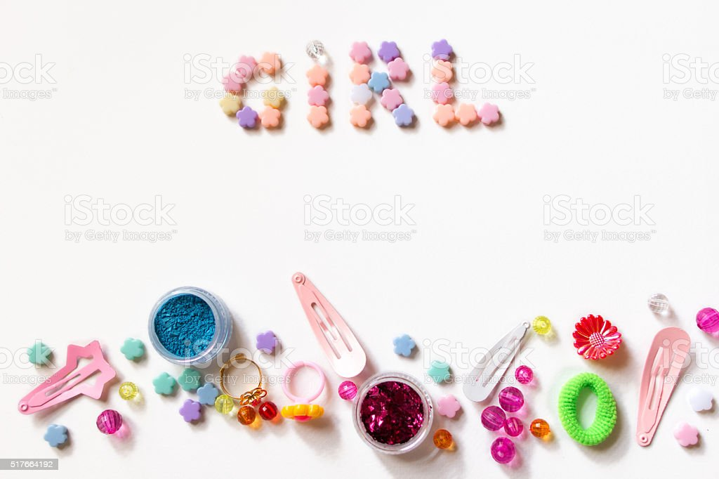 Little girl accessories lifestyle set on white stock photo