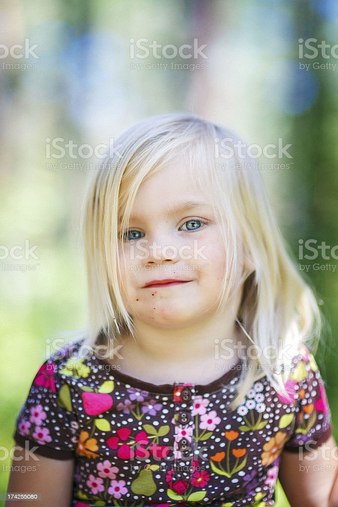 Little girl after eating strawberries royalty-free stock photo
