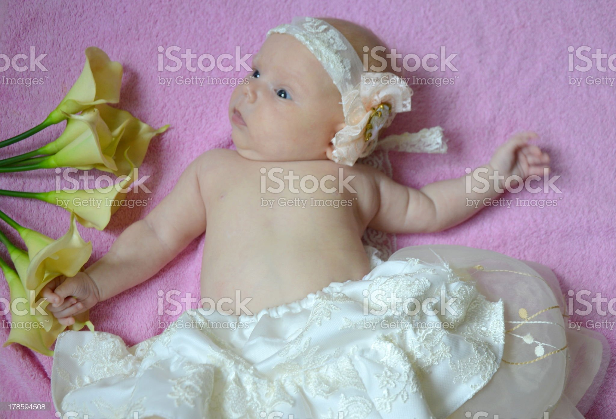 Little girl and a bouquet of flowers royalty-free stock photo