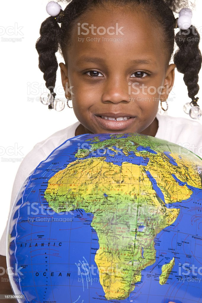 Little Girl and Africa royalty-free stock photo
