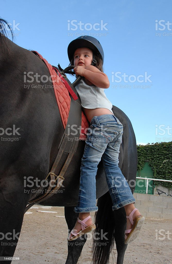 little girl and big horse royalty-free stock photo