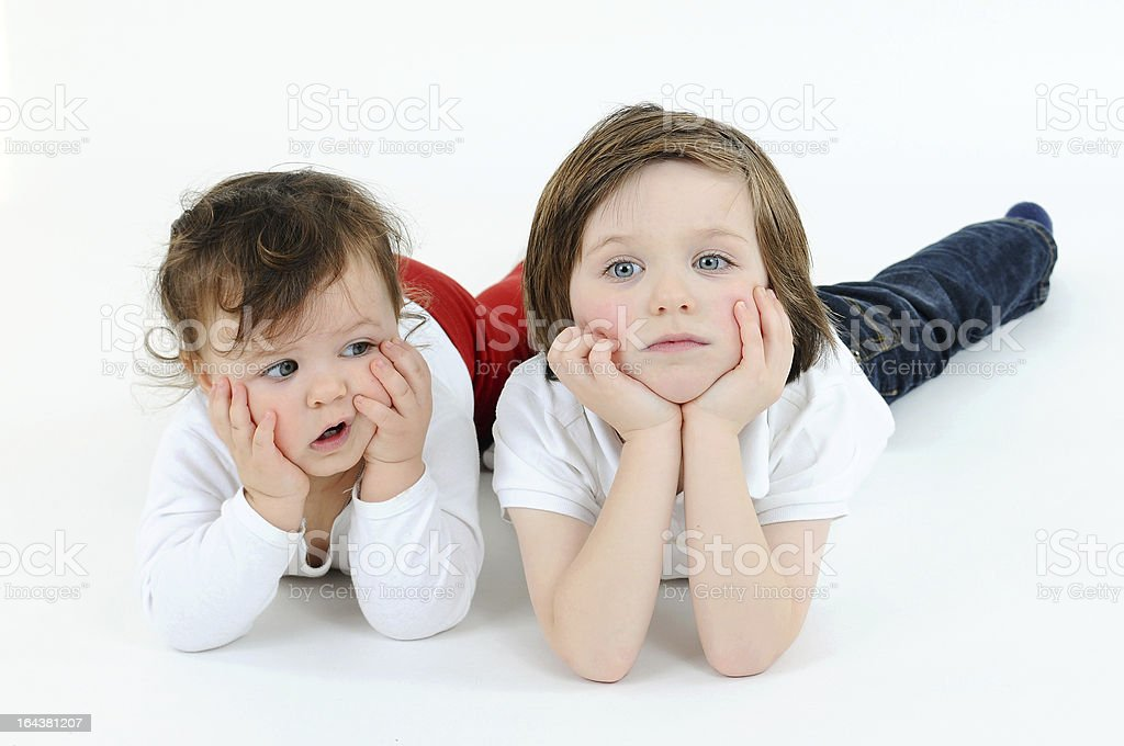 Little girl and boy boring royalty-free stock photo