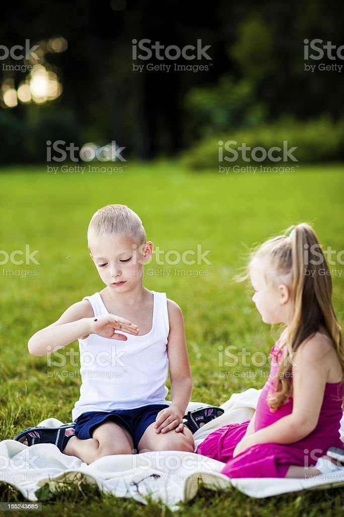 Little girl and boy on a meadow stock photo