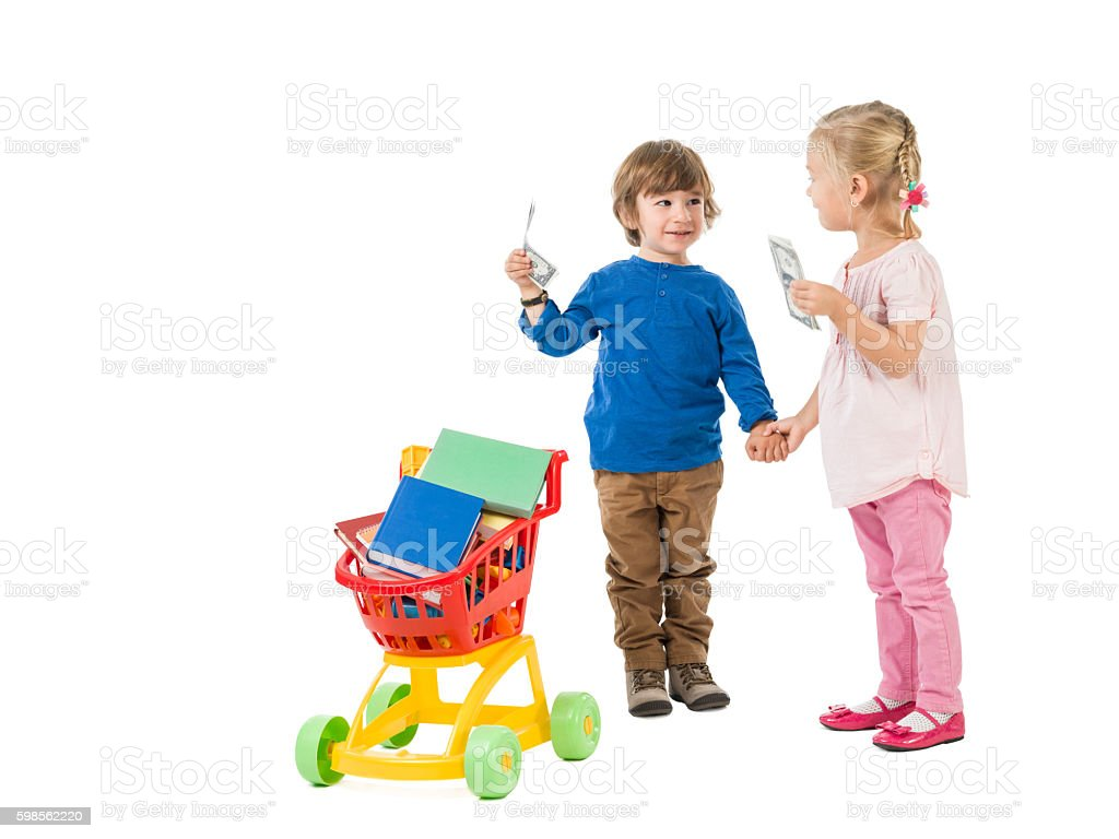 Little Girl And Boy Shopping For Back To School stock photo