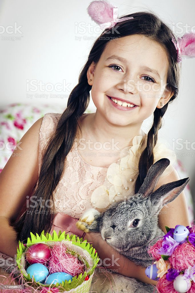 Little girl and bunny royalty-free stock photo