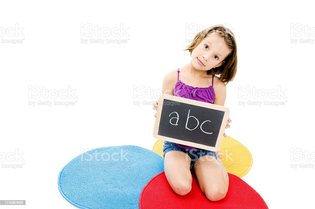 Little Girl and Chalkboard, Literacy Concept royalty-free stock photo