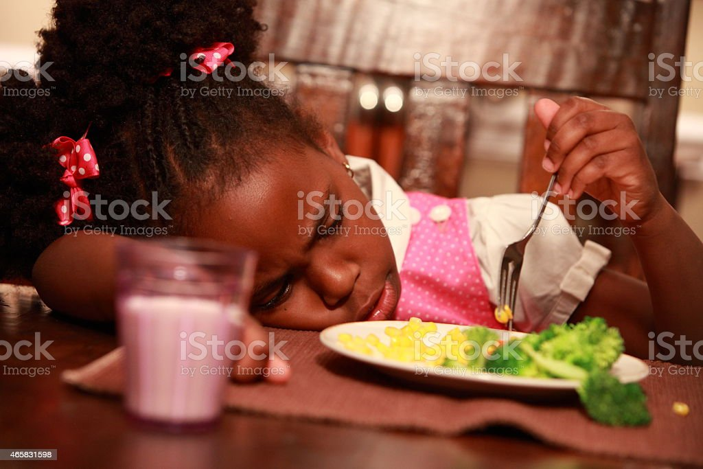 Little Girl and Healthy Food stock photo